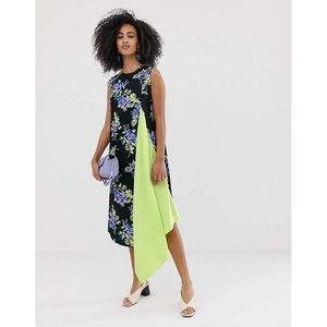 asos black dress w/ lime blue purple floral print